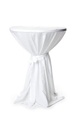 Feestmaterialen - 0310 Statafel linnen hoes met strik wit